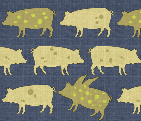 When Pigs Fly Denim fabric by littlerhodydesign on Spoonflower - custom fabric