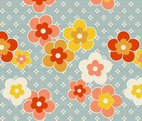 Retro Blooms Blue fabric by mrshervi on Spoonflower - custom fabric