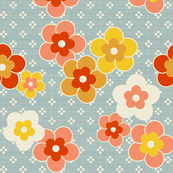 Retro Blooms Blue