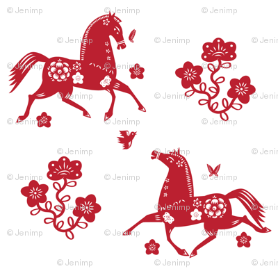 Year of the Horse Papercut 2-color