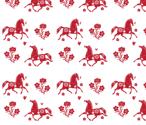 Year of the Horse Papercut 2-color fabric by jenimp on Spoonflower - custom fabric