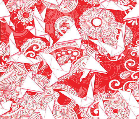 BOHEMIAN FEATHERS ( RED&WHITE) fabric by deeniespoonflower on Spoonflower - custom fabric