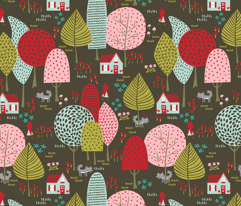 To_Grandmothers_House_night fabric by stacyiesthsu on Spoonflower - custom fabric