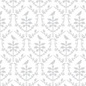Bird Damask in White/Silver grey