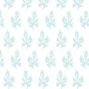 Maya block print in white/Duck egg blue