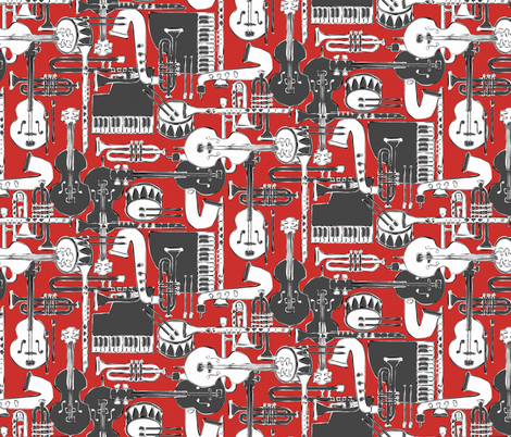 weave jazz red fabric by scrummy on Spoonflower - custom fabric