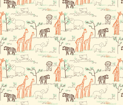 safari love jill bull fabric by fabricfarmer_by_jill_bull on Spoonflower - custom fabric
