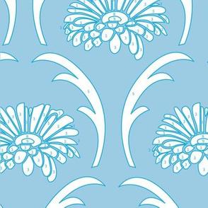 Gerbera blue background