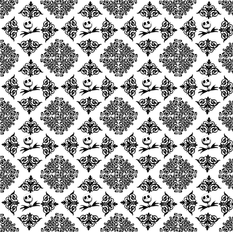 Jack Skellington Damask fabric by sunflowerfreckles on Spoonflower - custom fabric