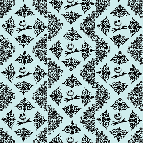 Jack Skellington Damask - light blue fabric by sunflowerfreckles on Spoonflower - custom fabric