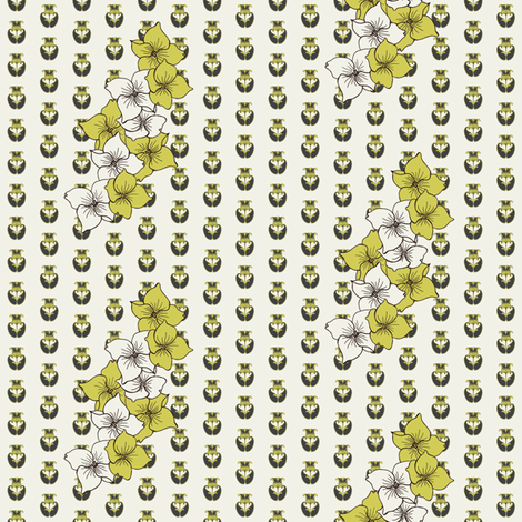 Dogwood Flowers in avocado fabric by carrie_narducci on Spoonflower - custom fabric