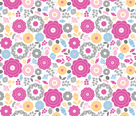 Detailed Gift Vibrant Flower  fabric by oksancia on Spoonflower - custom fabric