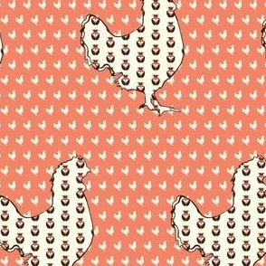 Pink rooster with floral