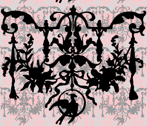 1892 Bird On a Wire Damask ~ Dauphine, Blackmail, Silver Leaf and Pewter fabric by peacoquettedesigns on Spoonflower - custom fabric