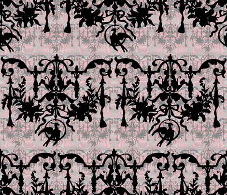 1892 Bird On a Wire Damask ~ Moire ~Dauphine, Blackmail, Silver Leaf and Pewter fabric by peacoquettedesigns on Spoonflower - custom fabric
