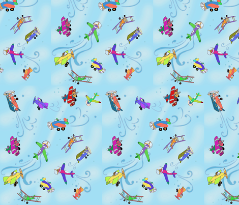 flyin_around-blue fabric by maliuana on Spoonflower - custom fabric