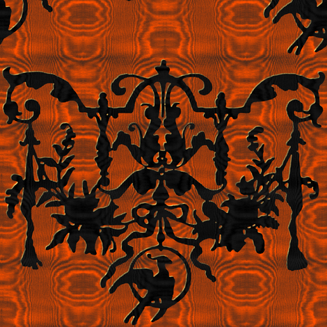 1892 Bird On a Wire Damask ~ Moire ~Halloween ~ Marquise and Blackmail fabric by peacoquettedesigns on Spoonflower - custom fabric