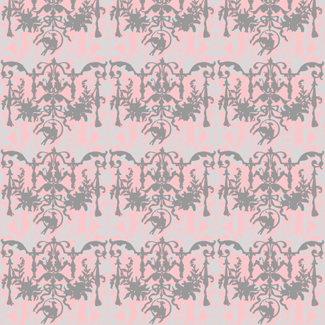 1892 Bird On a Wire Damask ~ Dauphine with Silver Leaf and Pewter fabric by peacoquettedesigns on Spoonflower - custom fabric