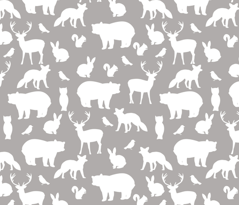 Woodland party on grey big fabric by >>mintpeony<< on Spoonflower - custom fabric