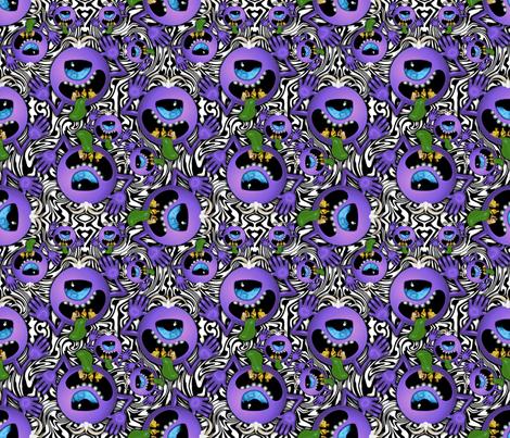 ditzy purple people eater on black and white swirls