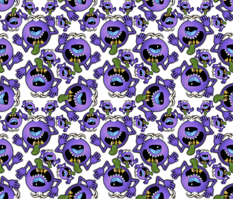 ditzy purple people eater on white