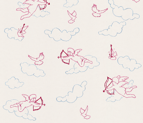 No, Cupid!  fabric by logan_spector on Spoonflower - custom fabric