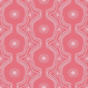 Lace Starburst Hand Drawn on Camelia Pink