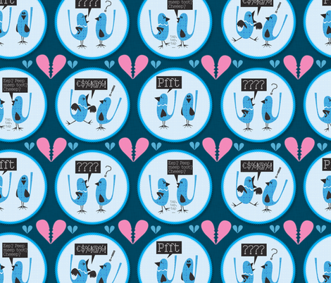 The Love Bird Blues fabric by mulberry_tree on Spoonflower - custom fabric