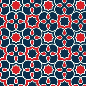 Geometric Loopy - Red and Blue - Quilting Scale