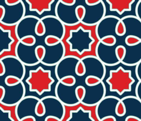 Geometric Loopy - Blue and Red fabric by anntuck on Spoonflower - custom fabric