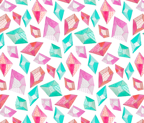 Watercolor Pattern Gemstones fabric by emilysanford on Spoonflower - custom fabric