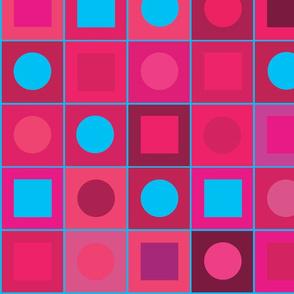 checkers - big fushcia/turquoise
