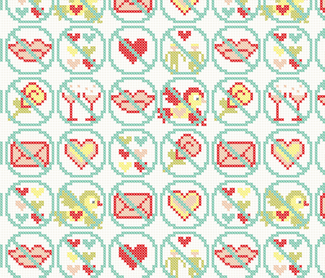 No flowers, no champagne, no love letters, no kisses fabric by ebygomm on Spoonflower - custom fabric