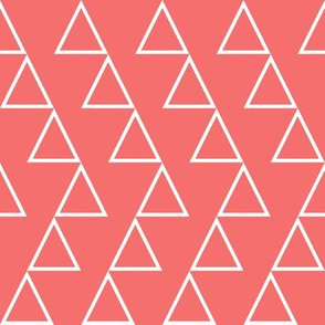Dancing Triangles- white on coral-EK