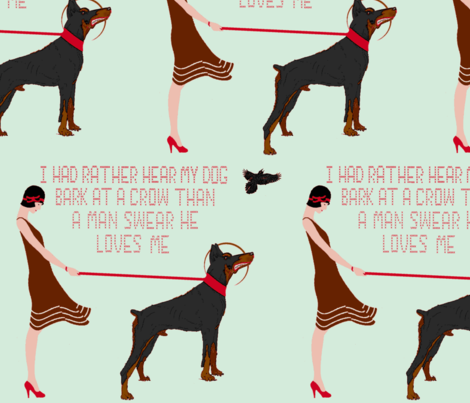 Hear my dog bark -  cross stitch -(teal) fabric by walkwithmagistudio on Spoonflower - custom fabric