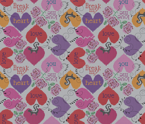 stitch my broken heart fabric by liluna on Spoonflower - custom fabric
