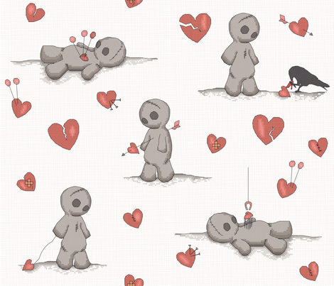 BrokenHearted VoodooDolls fabric by juliesfabrics on Spoonflower - custom fabric