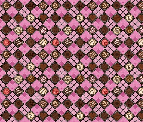 St. Chocolate Day (Argyle Chocolate Box) fabric by jbhorsewriter7 on Spoonflower - custom fabric