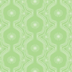 Lace Starburst Hand Drawn on Cactus Green