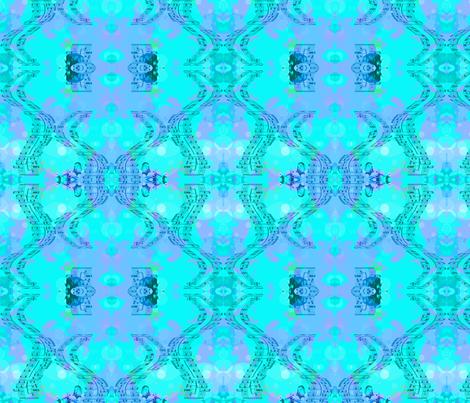 Damask Blues fabric by nekochansnifty on Spoonflower - custom fabric
