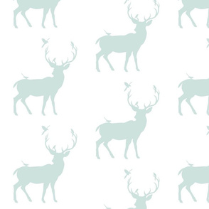 Winter Deer Silhouette in Mint