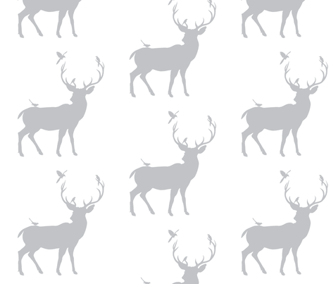 Winter Deer Silhouette in Gray fabric by oliveclothco on Spoonflower - custom fabric