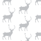 Winter Deer Silhouette in Gray