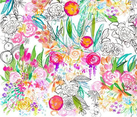 Botanical Sketchbook, V2 fabric by theartwerks on Spoonflower - custom fabric