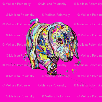 Multicolor Dappled Dachshund Print with Hot Pink Neon Background
