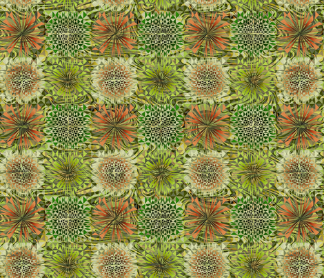 Dreamy Geo (green and orange) fabric by mktextile on Spoonflower - custom fabric