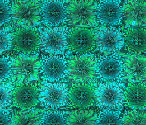 Blue and Green Dreamy Geo fabric by mktextile on Spoonflower - custom fabric