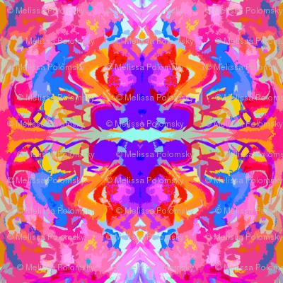 Hot Pink and Orange Tribal Watercolor - Large Print