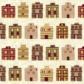 Minoan houses on milk cream weave