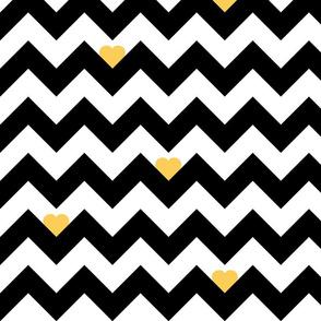 Heart & Chevron - Black/Yellow